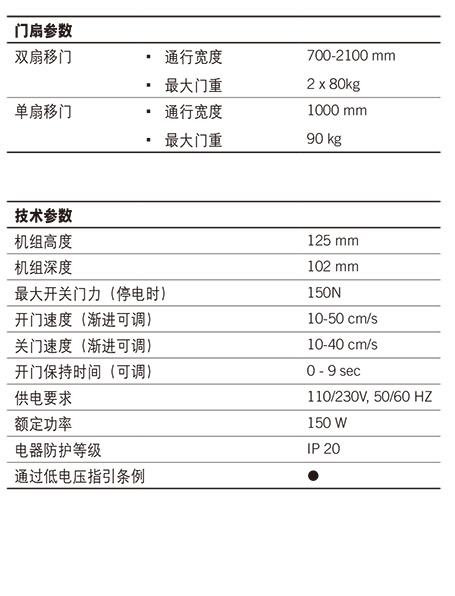 多玛自动门ES68技术参数1