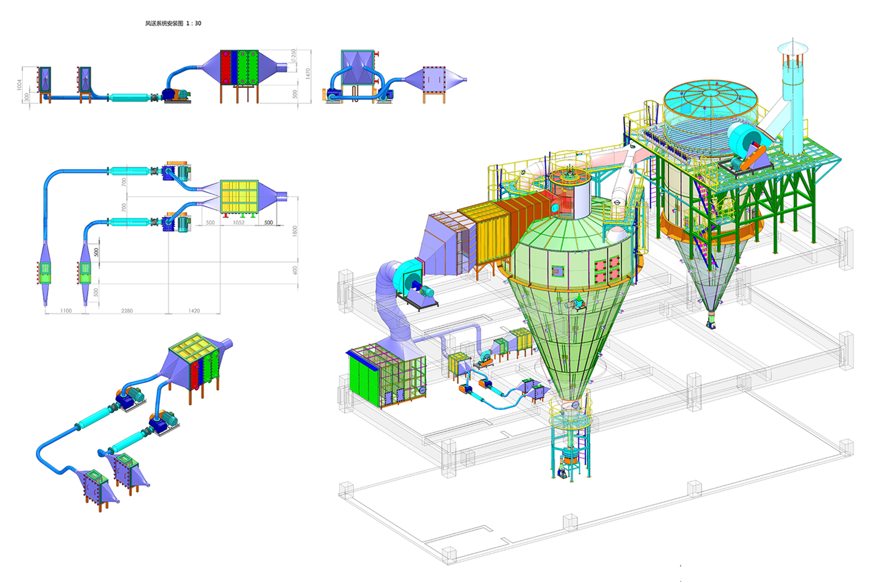 河南安阳干燥塔项目-A塔-总图-轴侧
