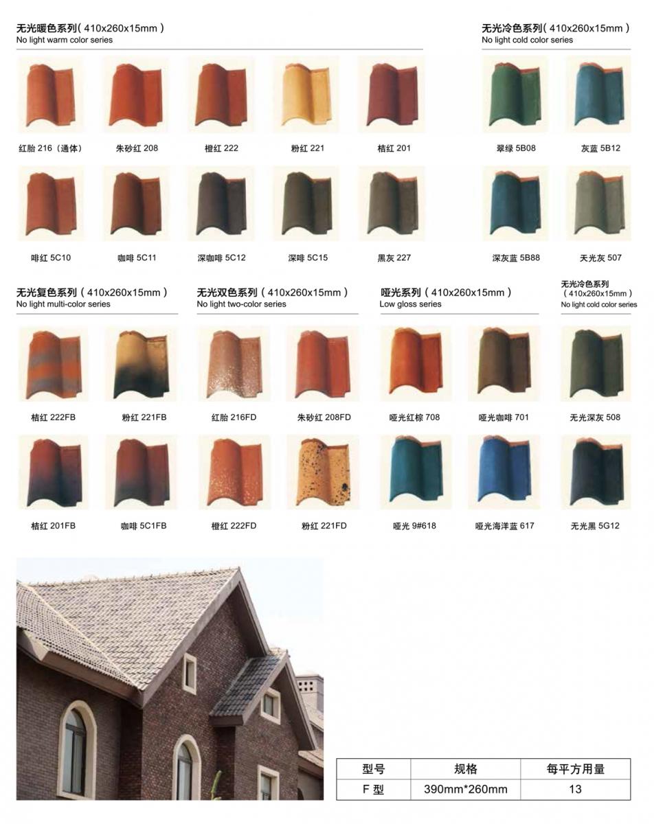 法式罗曼瓦尺寸、颜色贴图和每平方用量