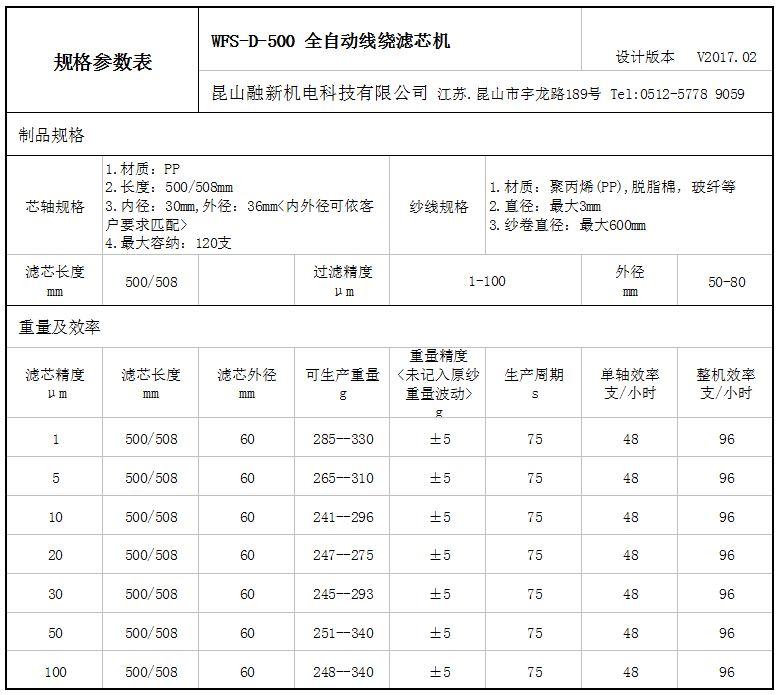 WFS-D-500性能參數表1