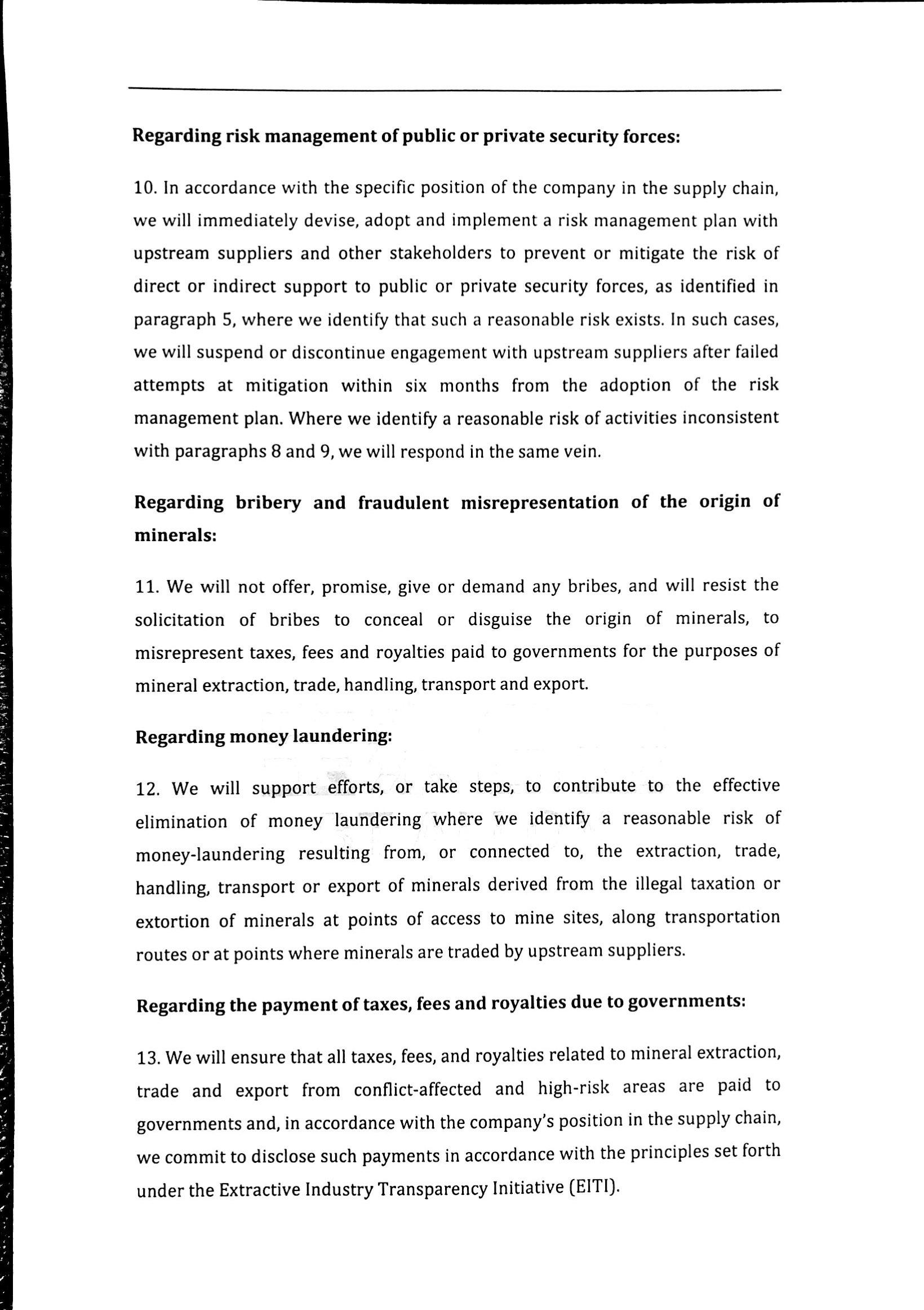 SHIZUISHAN BAOTAI ALLOY CO., LTD. Conflict Minerals Policy