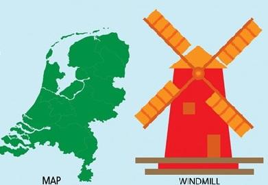 荷蘭地圖和風車