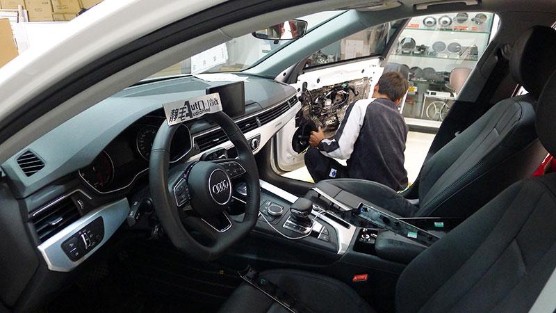 昆明奥迪A4音响改装惠威超薄低音炮