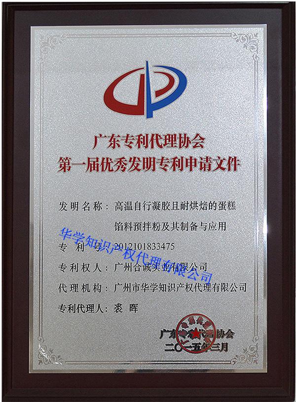 廣東專利代理協會第一屆優秀發明專利申請文件