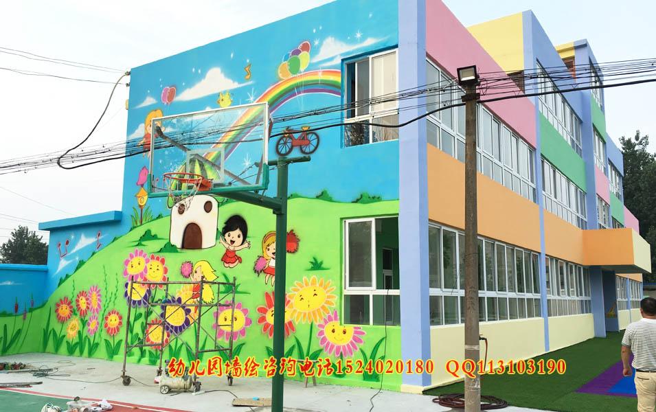外墙墙体彩绘  幼儿园校园文化墙彩绘,纯手工绘制,丙烯画颜料无毒无味