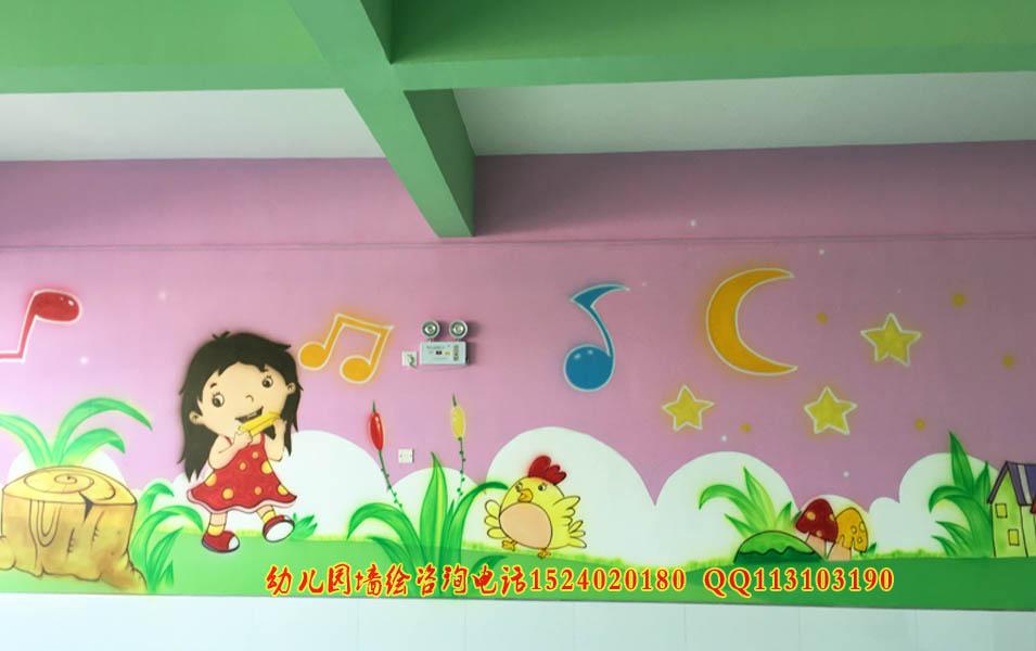 幼儿园室内墙体彩绘手工画喷绘
