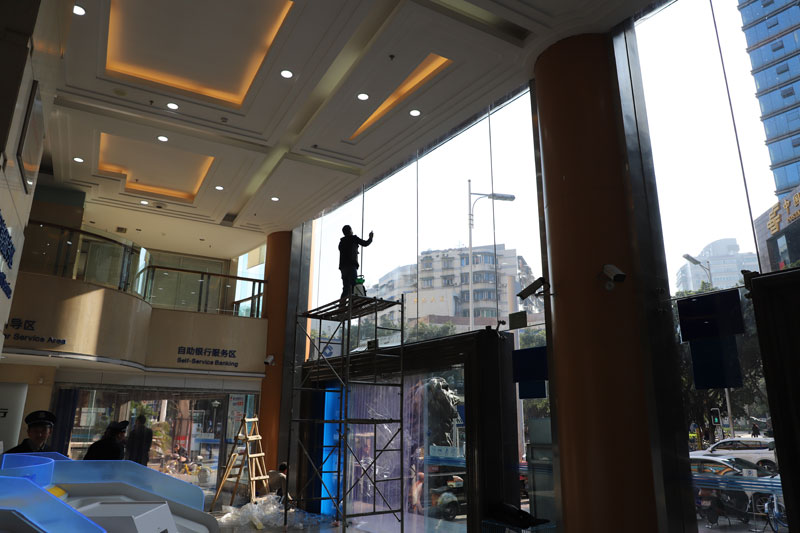 綿陽市建設銀行玻璃防爆膜貼膜