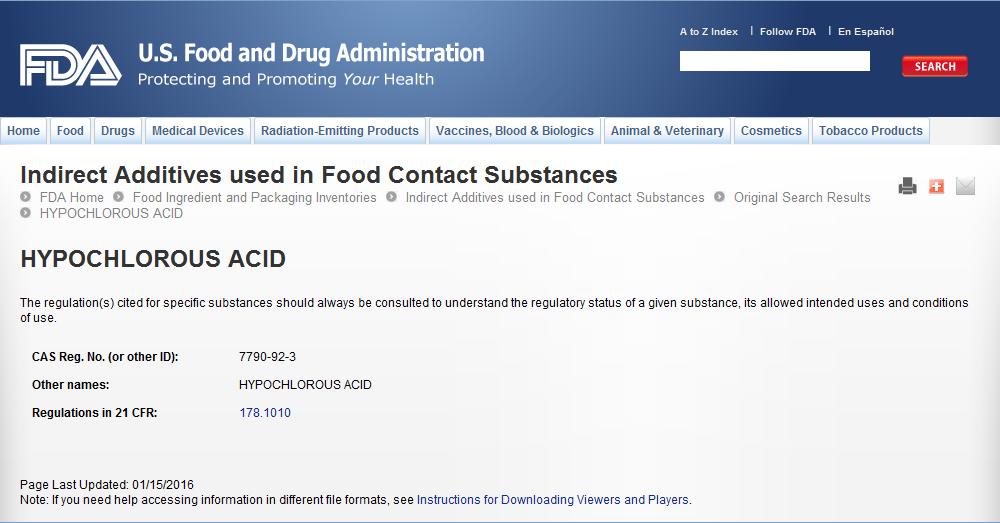 美国FDA认定次氯酸为食品添加剂