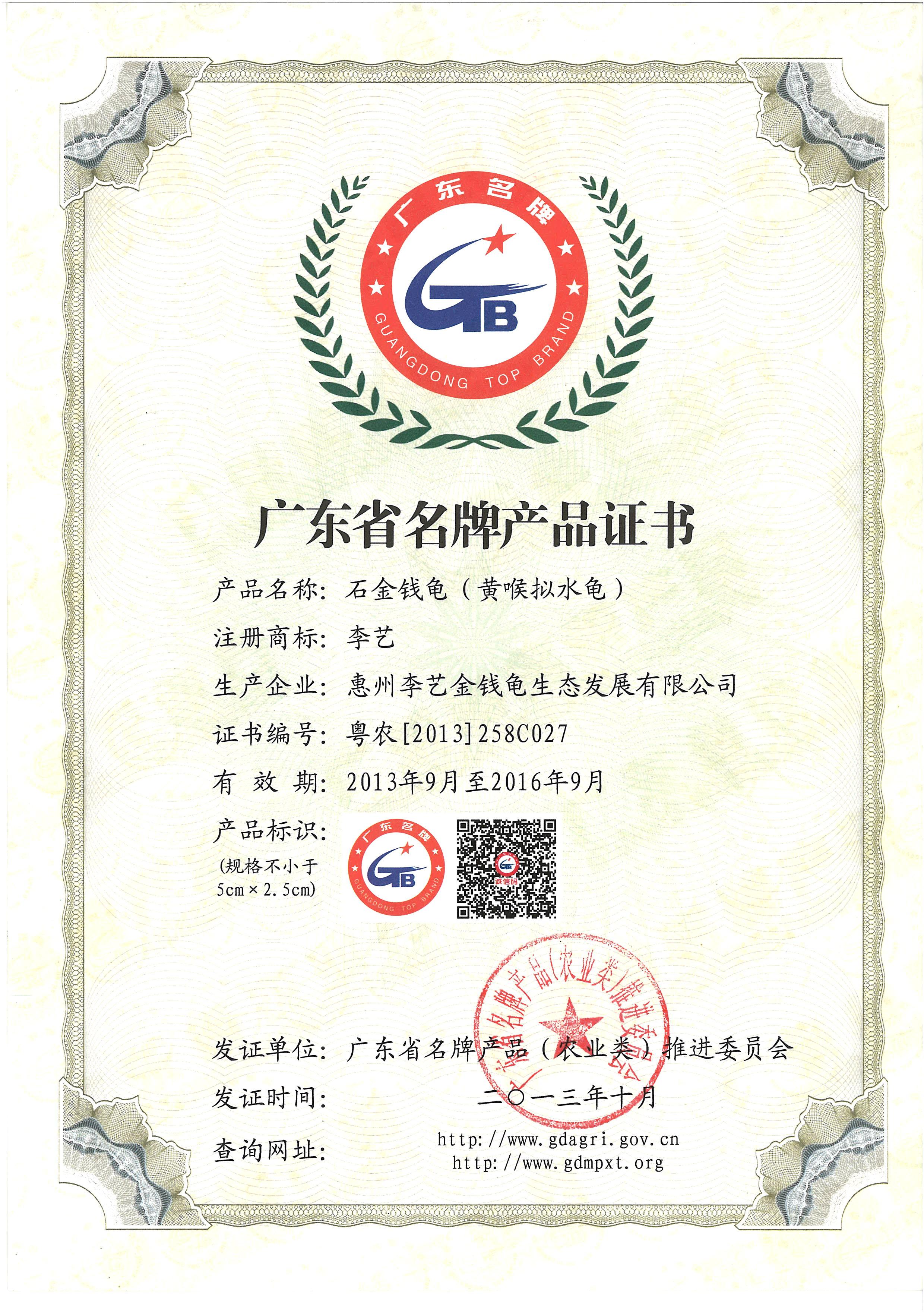 廣東省名牌產品-石金錢龜