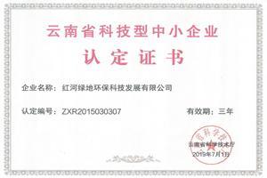 云南省科技型中小企業認定證書