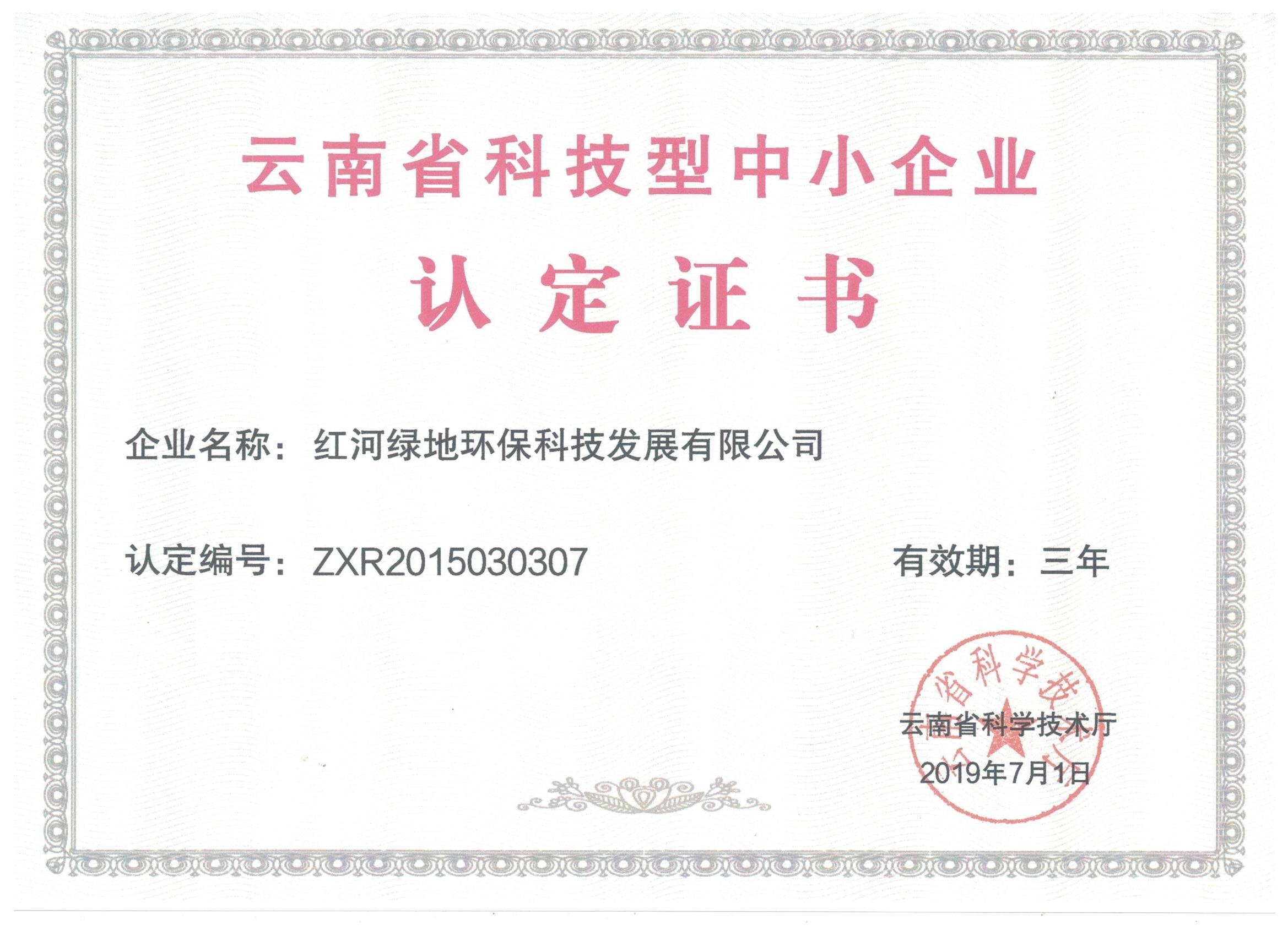 云南省科技型中小企业认定证书