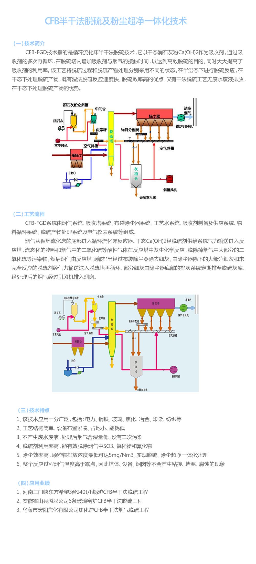CFB半干法脱硫及粉尘超净一体化技术