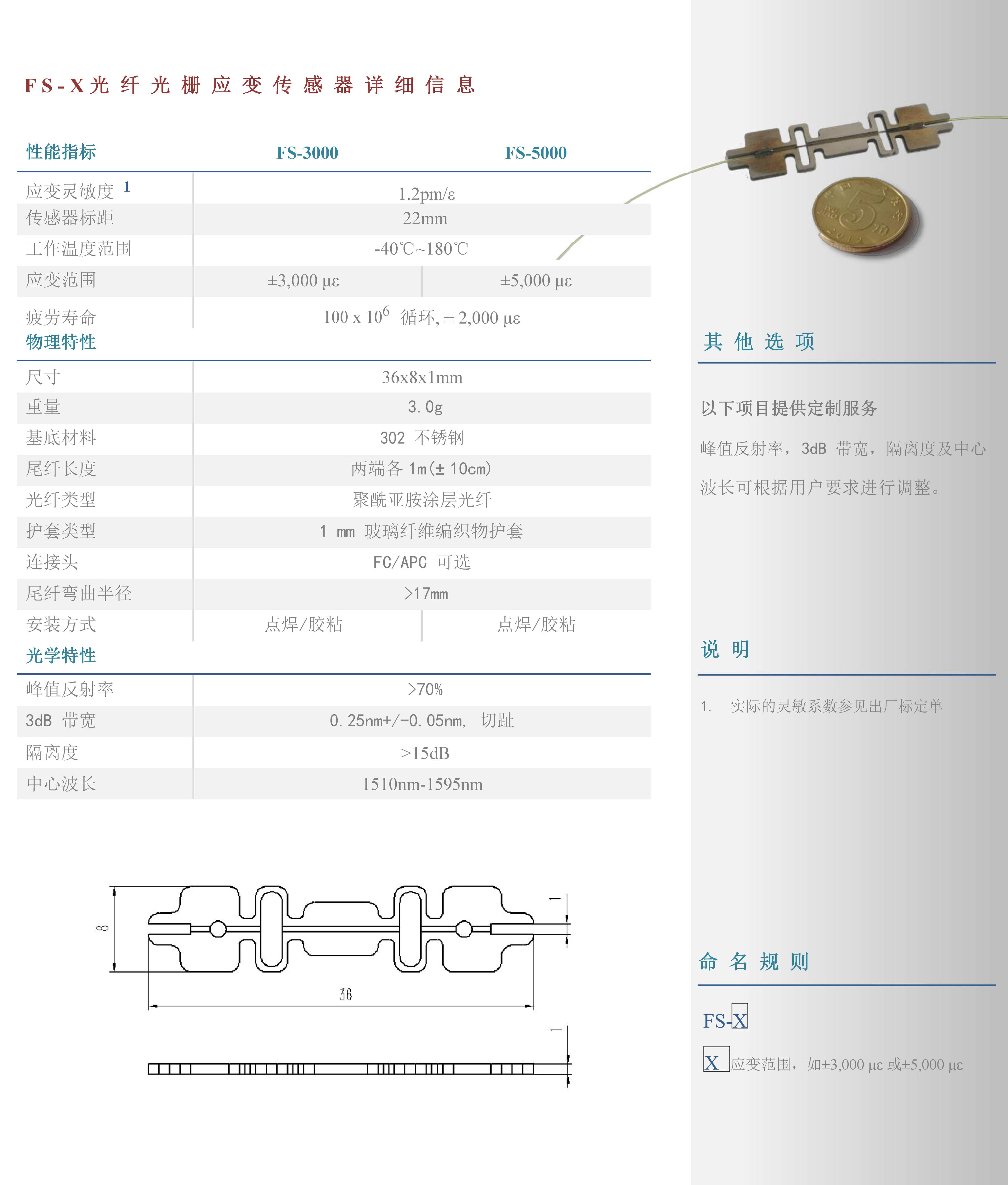 金屬基底光纖光柵應變傳感器FS-X系列1