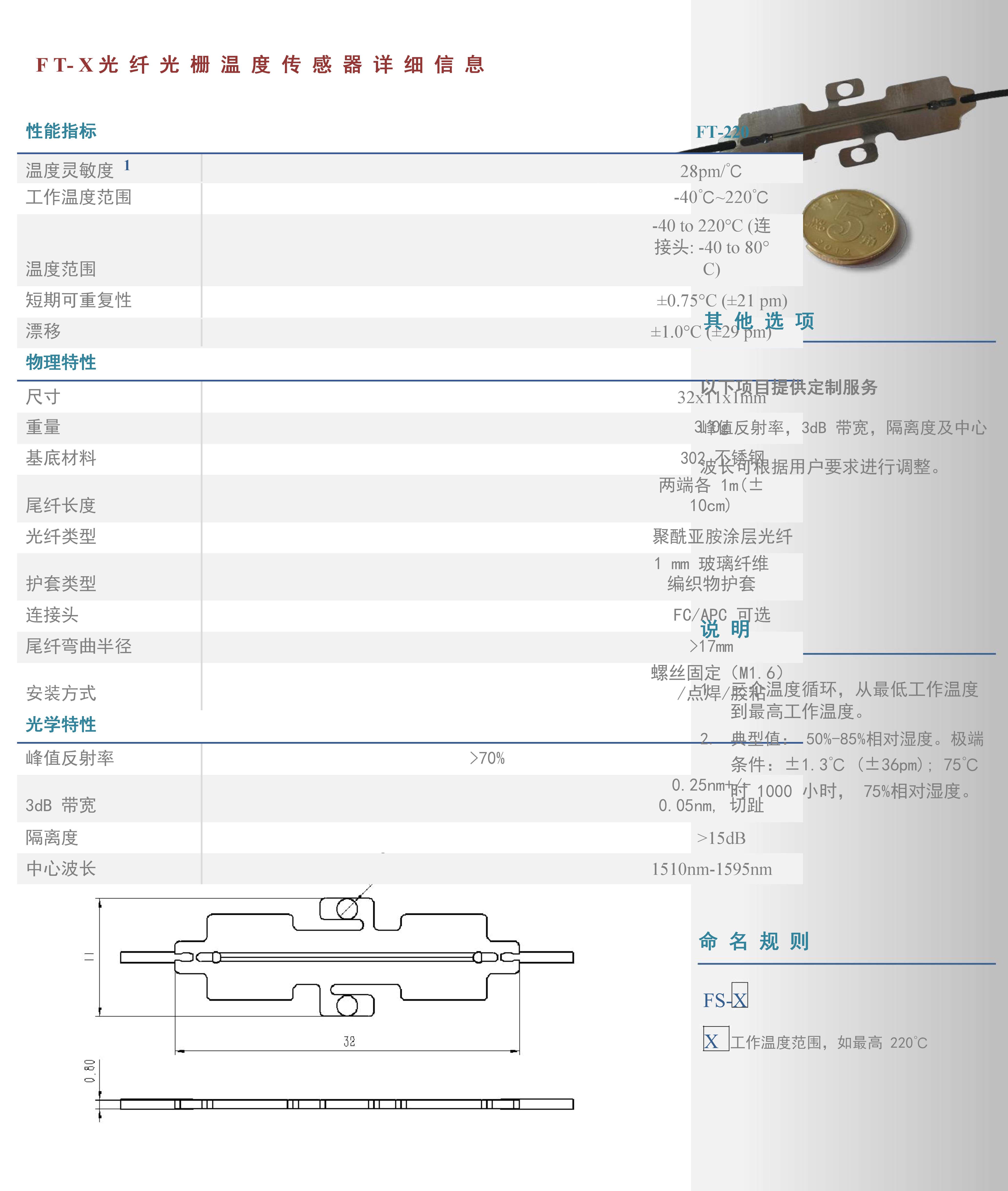光纖光柵溫度傳感器FT-X系列2