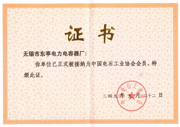 電石行業協會會員證書