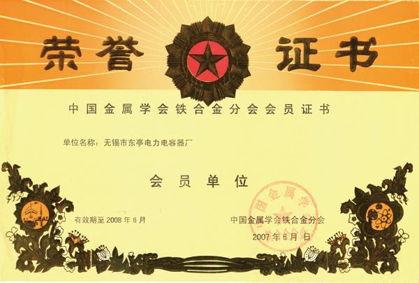 鐵合金行業協會會員證書