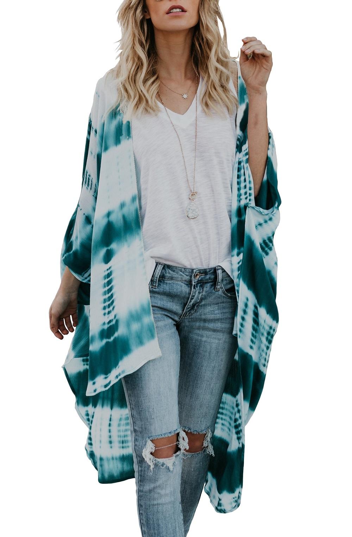 3c955efaec147 Chunoy Women Casual Loose Chiffon Long Kimono Cardigan Cover up ...