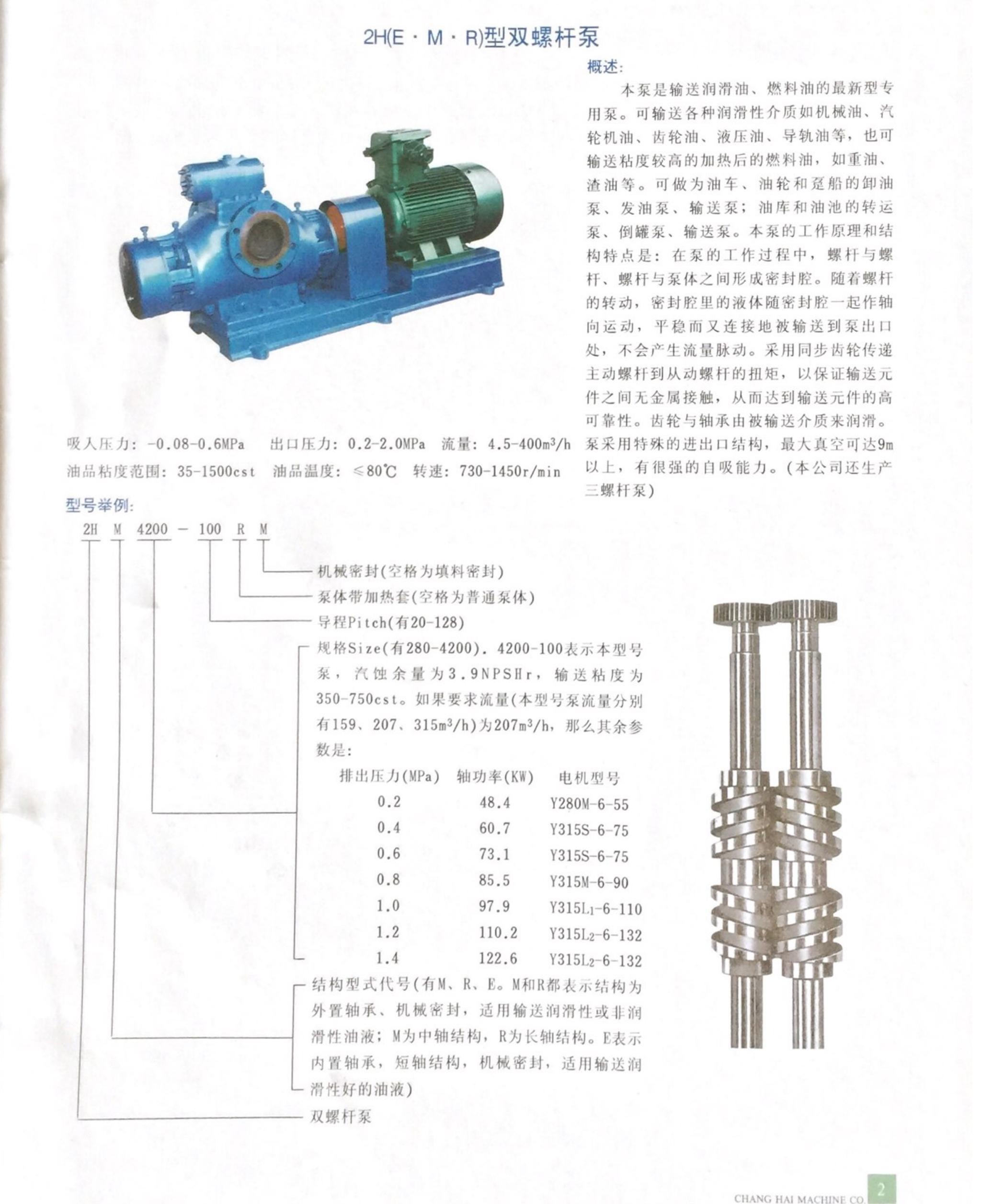 2H(E.M.R)型双螺杆泵