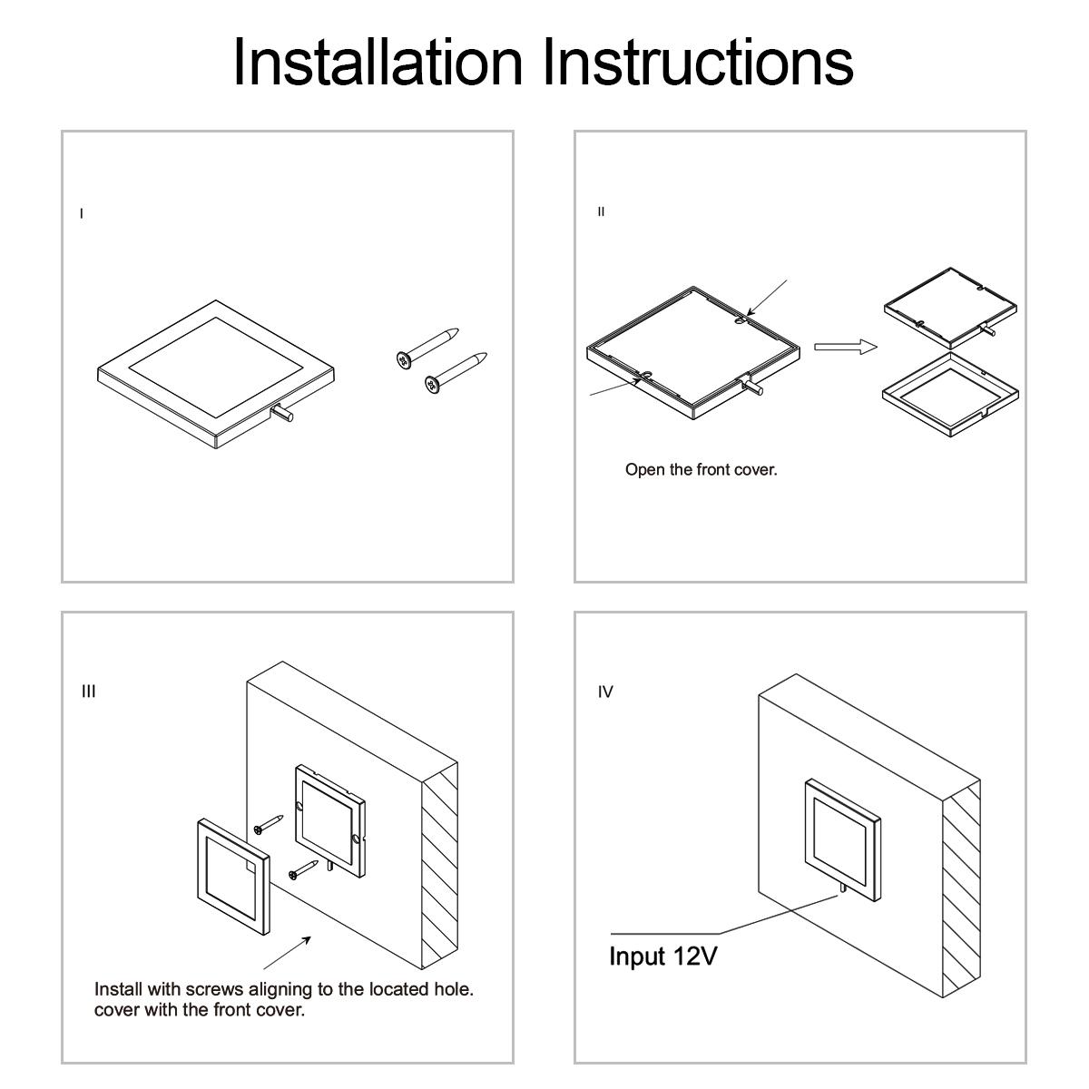 方形面板灯安装说明