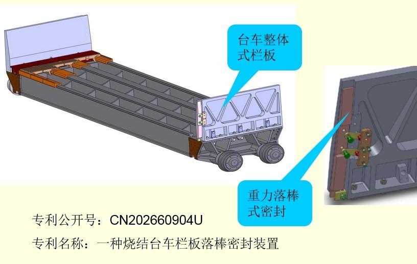 重力落棒式密封裝置,動態補償臺車欄板間隙