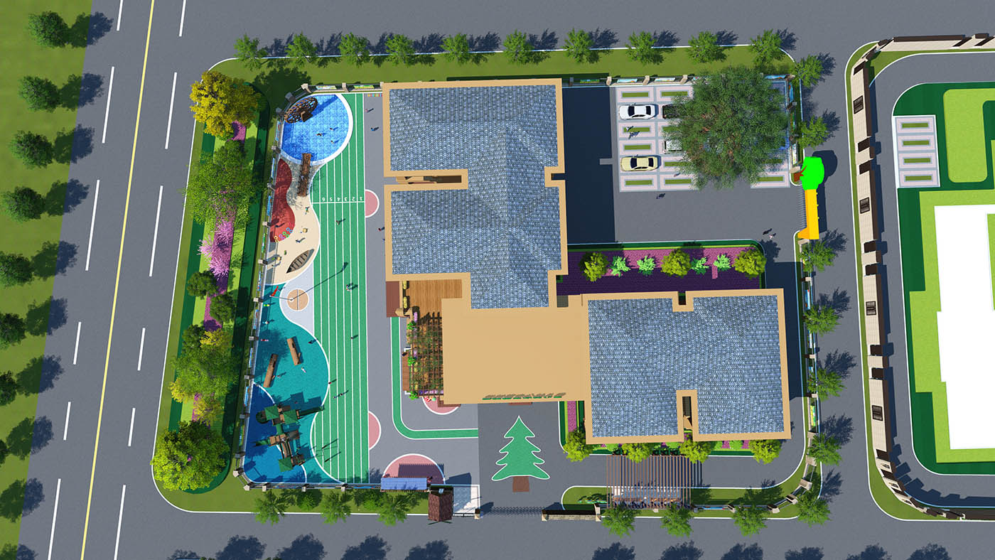 张村镇中心幼儿园景观效果图