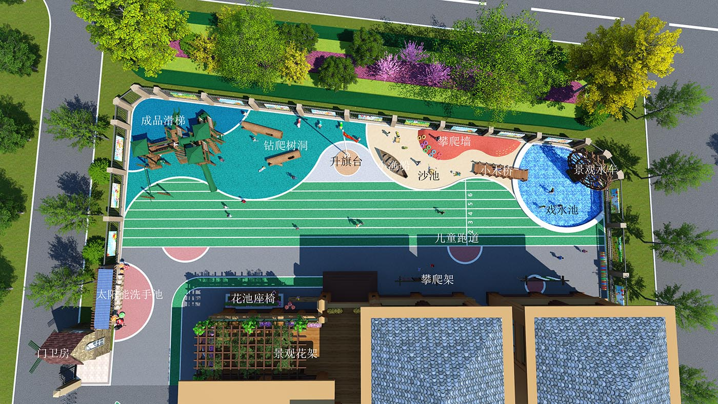 张村镇中心幼儿园景观效果图B