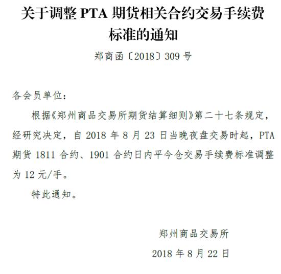鄭商所:調整PTA1811、1901合約手續費為12元/手
