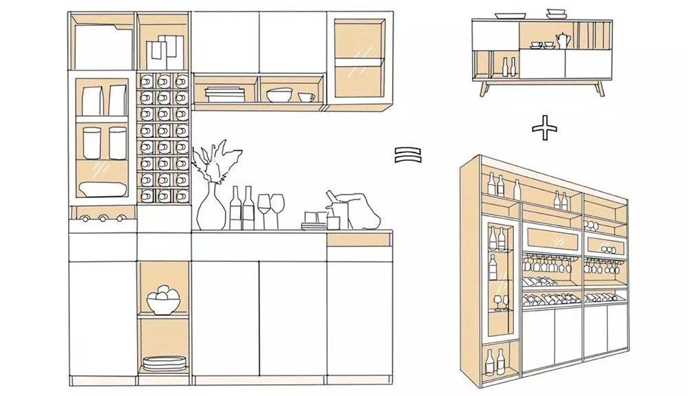 餐酒柜:餐邊柜與酒柜合二為一,餐廳擴容5m2!-2