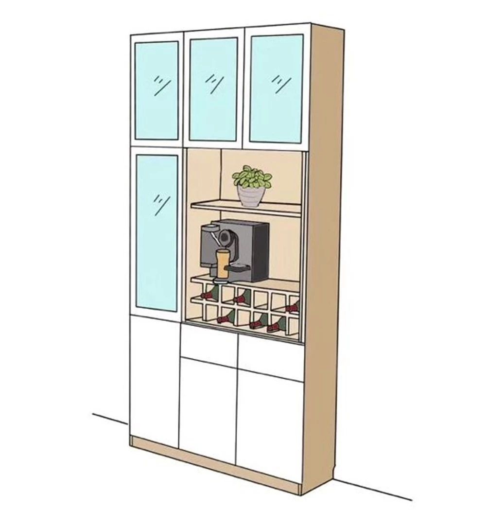 餐酒柜:餐邊柜與酒柜合二為一,餐廳擴容5m2!-25