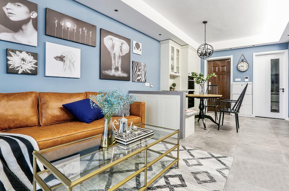 96㎡現代美式風家居,卡座設計巧妙隔斷客餐區。-1