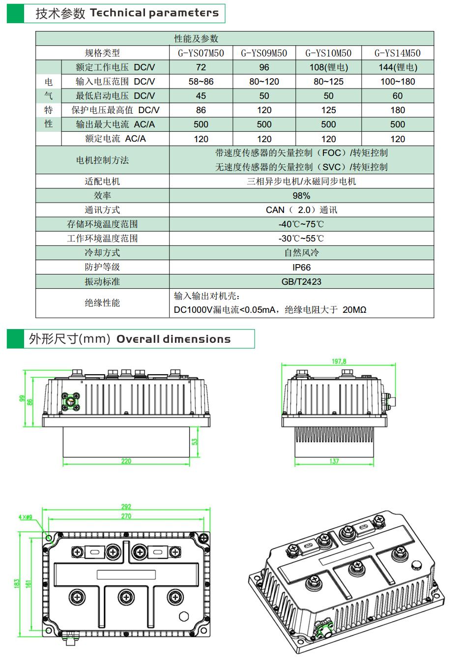 G-YS10M50系列電動汽車用交流電機控制器-2