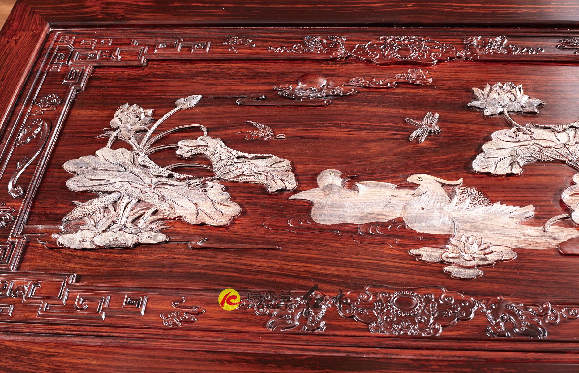 阔叶黄檀-CZ-1.53米荷花餐台细节