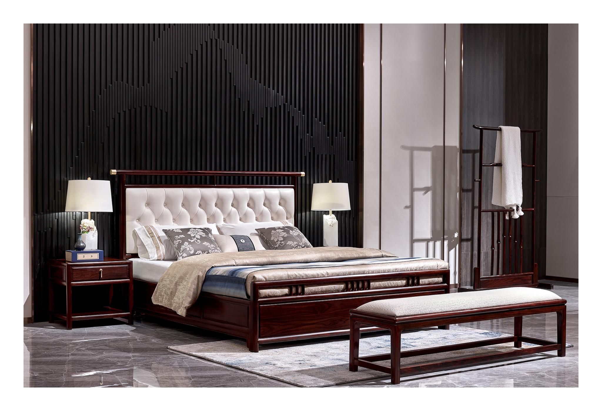 黑酸枝新中式大床1
