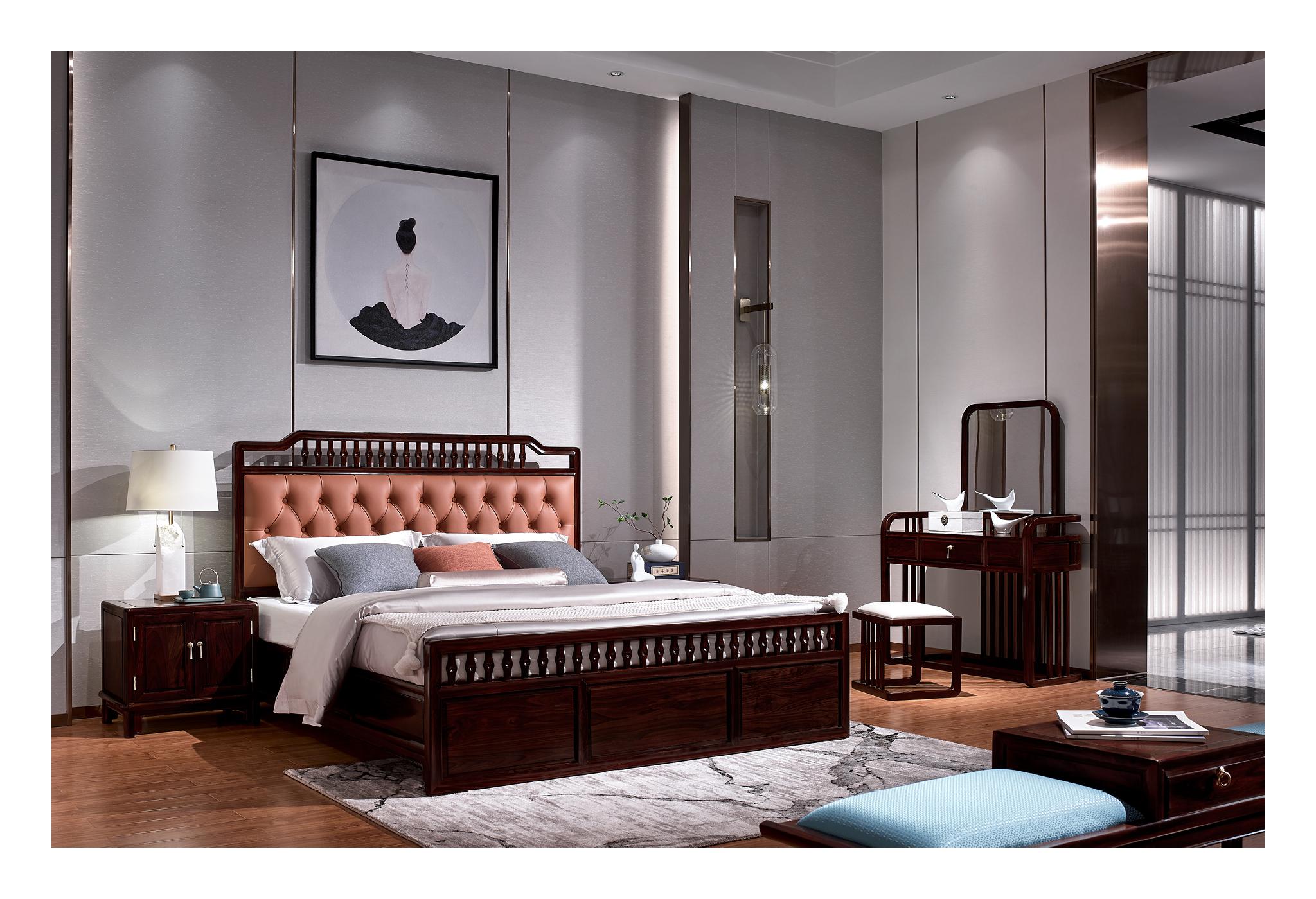黑酸枝新中式大床2