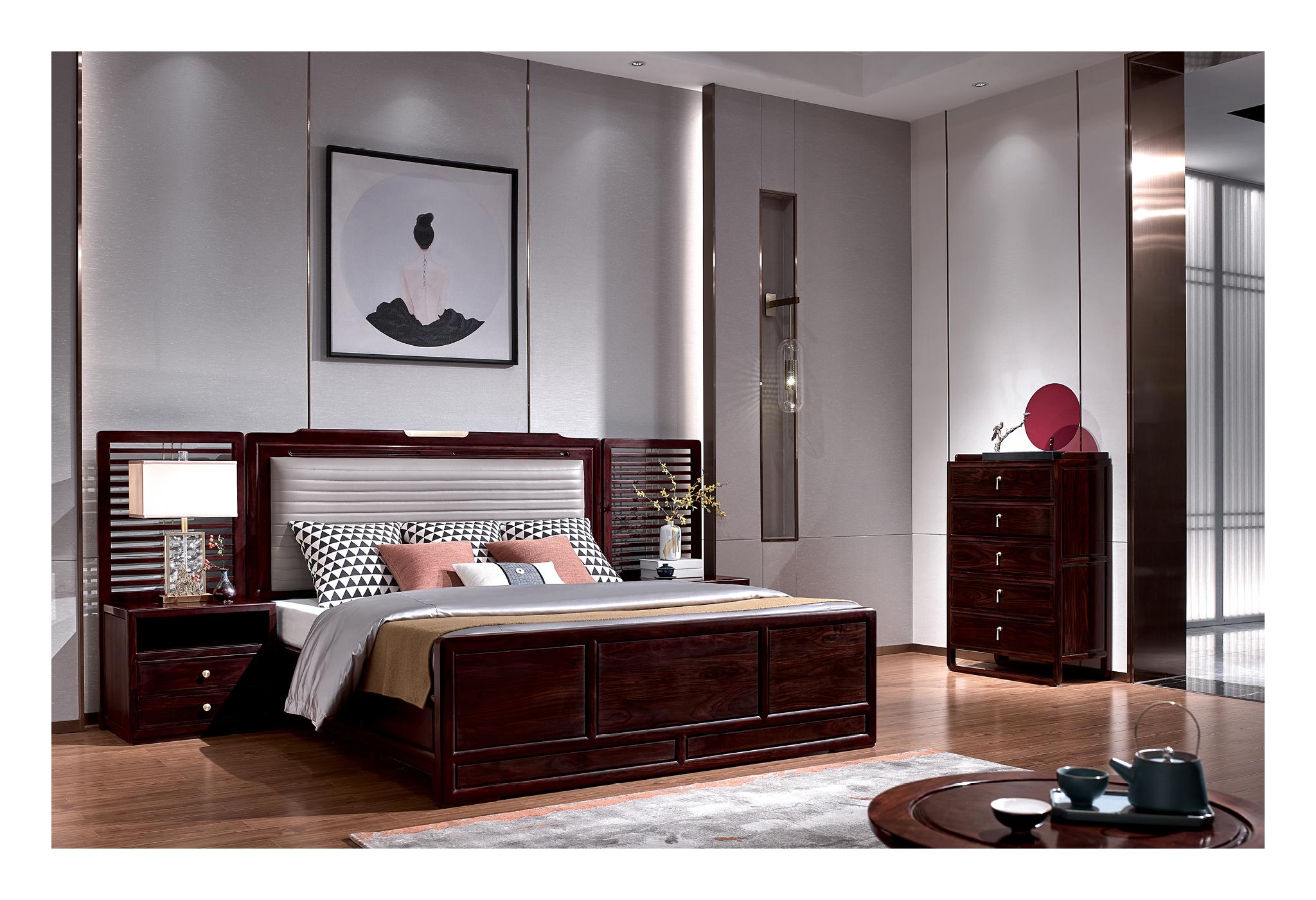黑酸枝新中式大床3