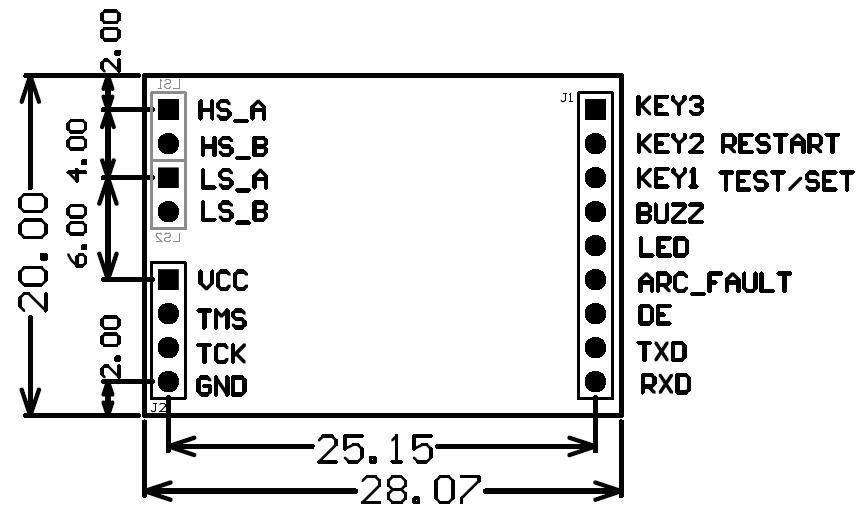 模块尺寸及接口定义图