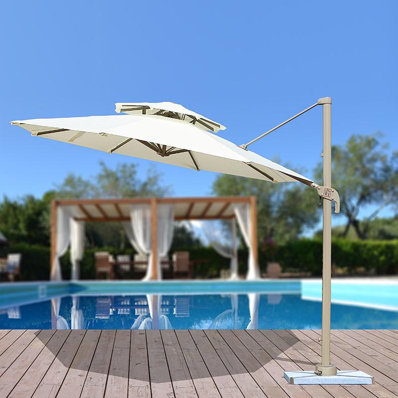 3米圆形罗马伞米白色