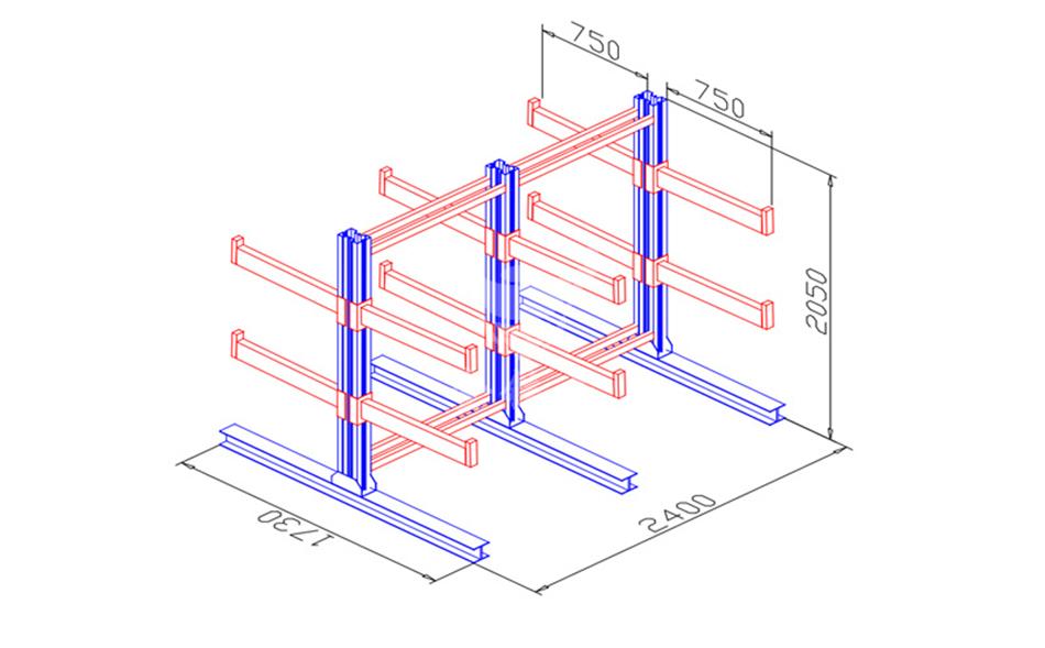 悬臂货架效果图-8