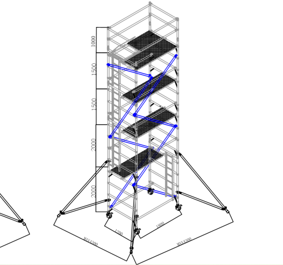 雙寬7.2米平臺直梯