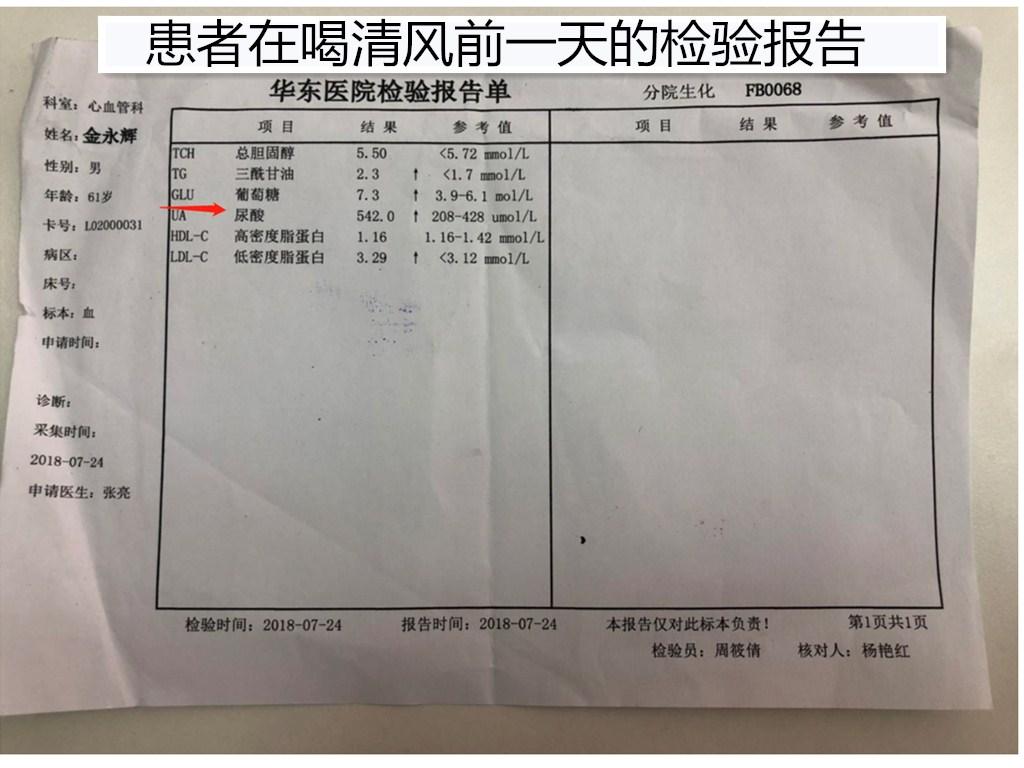 患者在喝清风前一天的检验报告
