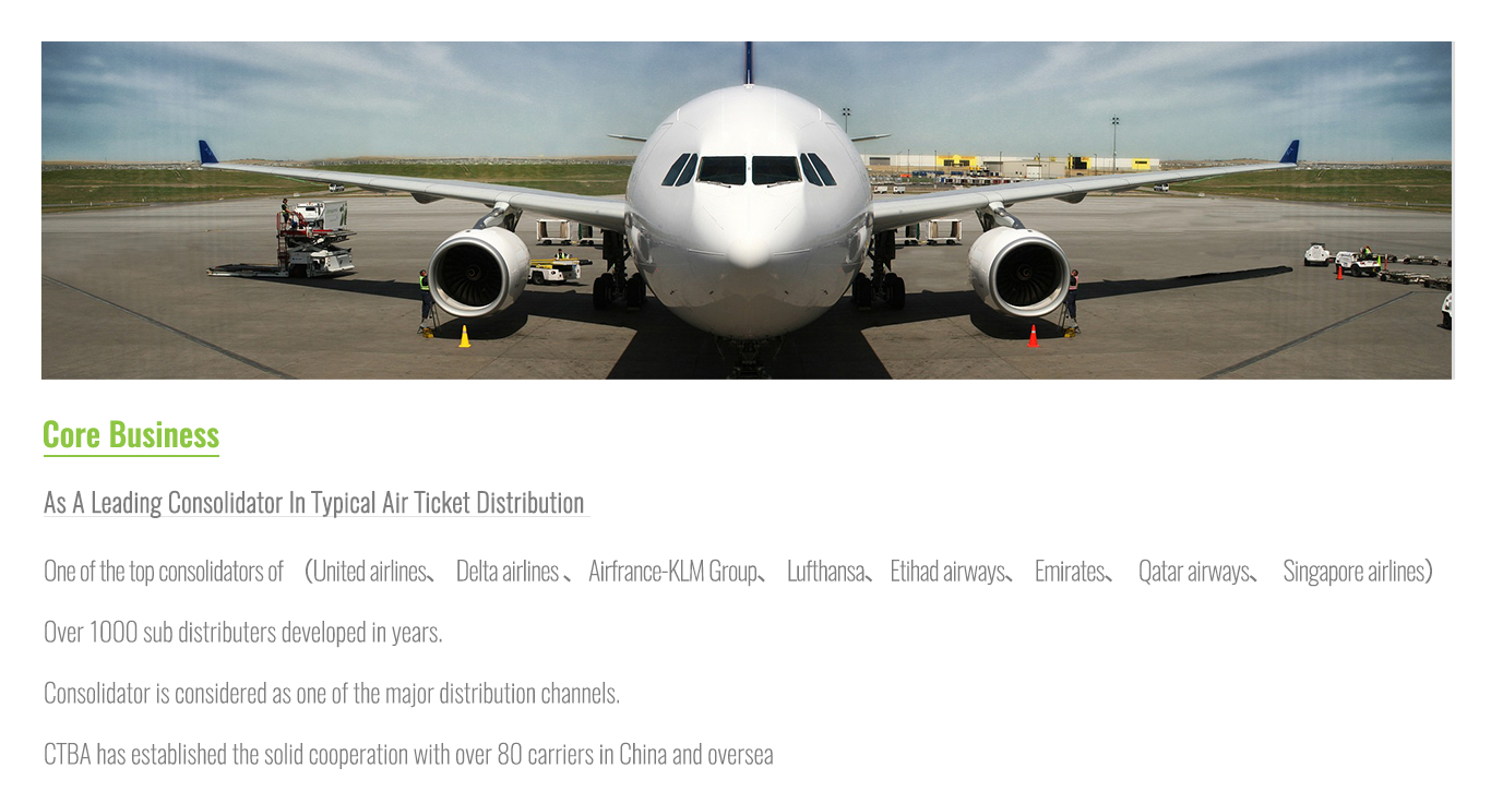 BeijingChinaTravelbyAirTransportationCo.,LtdCoreBusiness