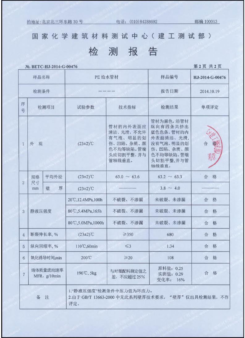 检测报告—PE给水管材1-2