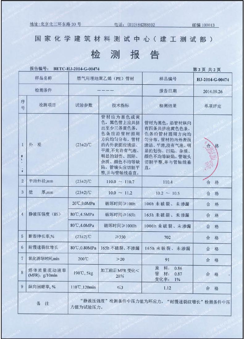 检测报告—燃气用埋地聚乙烯-PE管材1-2