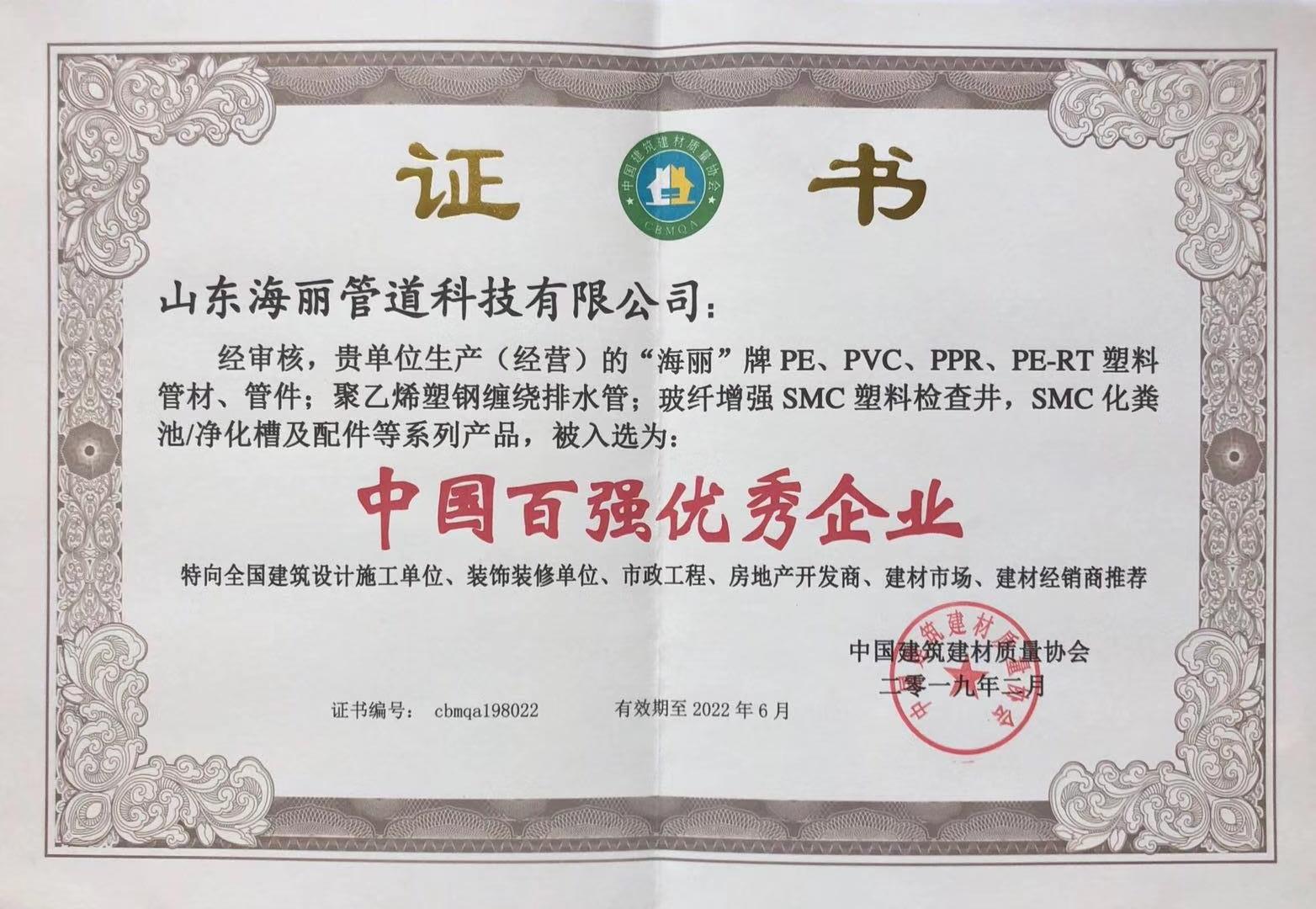 中国百强优秀企业_201902