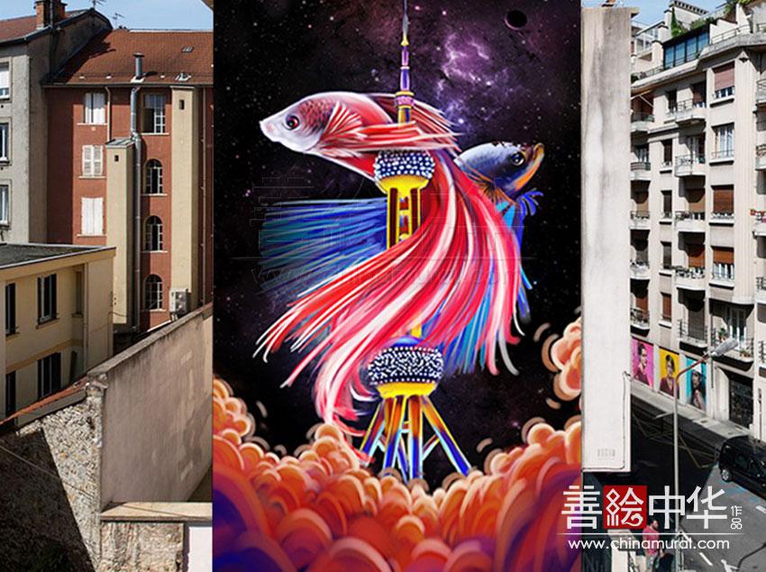 [原创设计] 双鱼筑梦 · 上海涂鸦墙