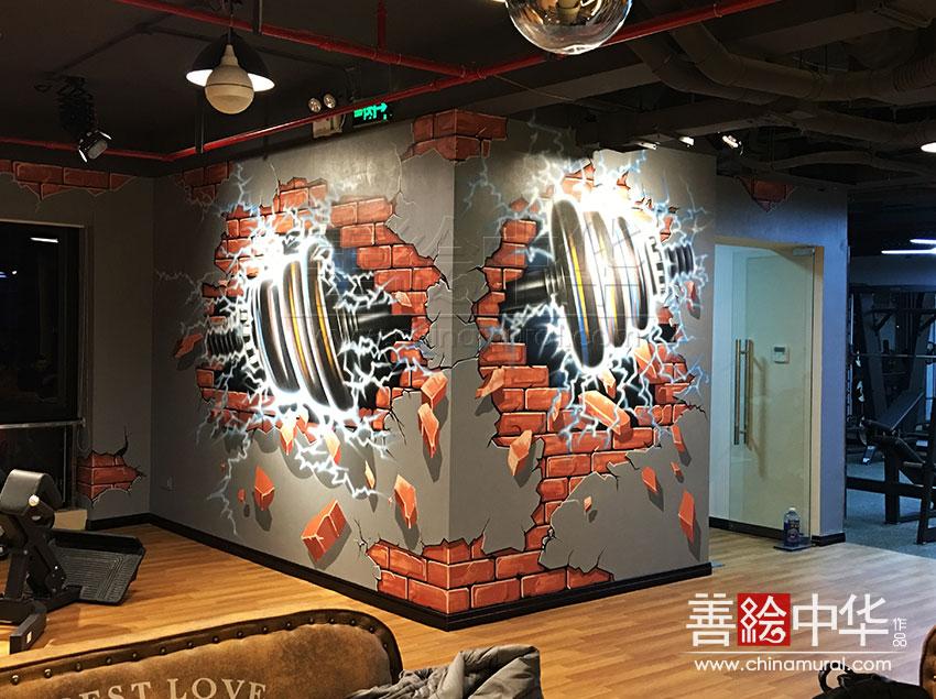 [原创设计]Gemini双子健身房3D墙绘