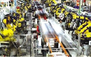 大众公司装配线上的机器人