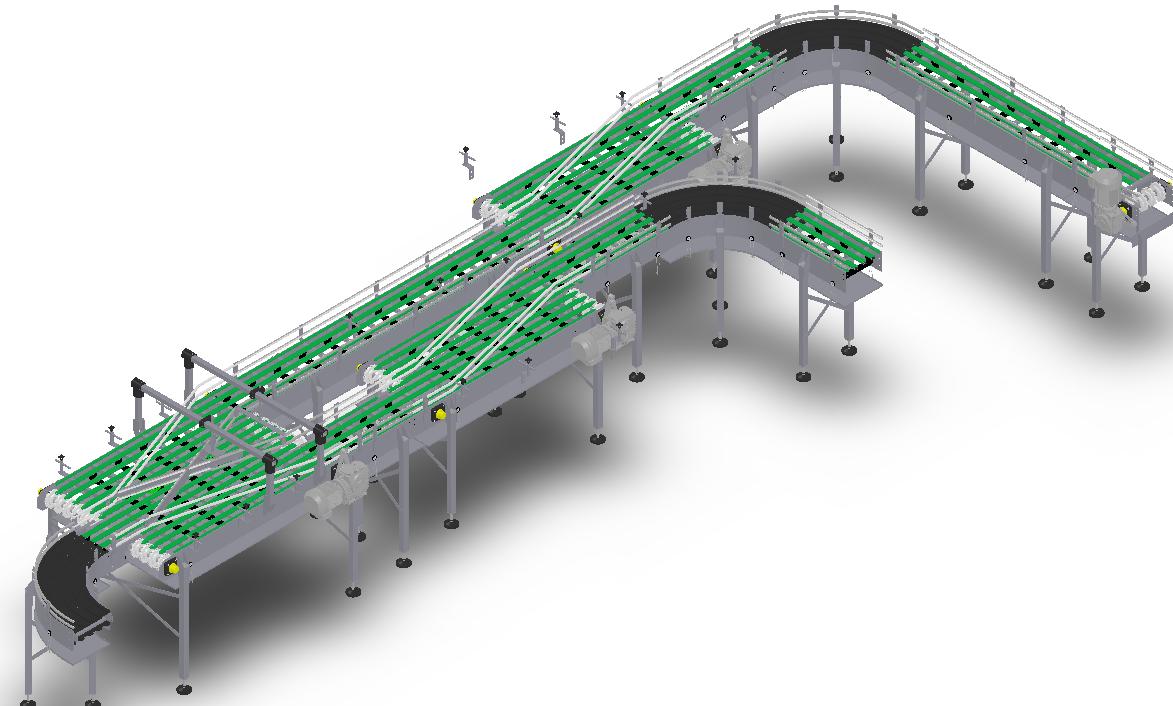 复杂多段链板输送线