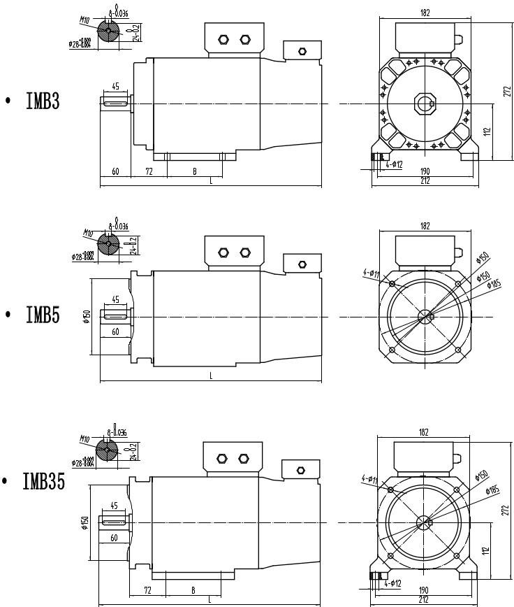 KZ-180主軸電機安裝尺寸