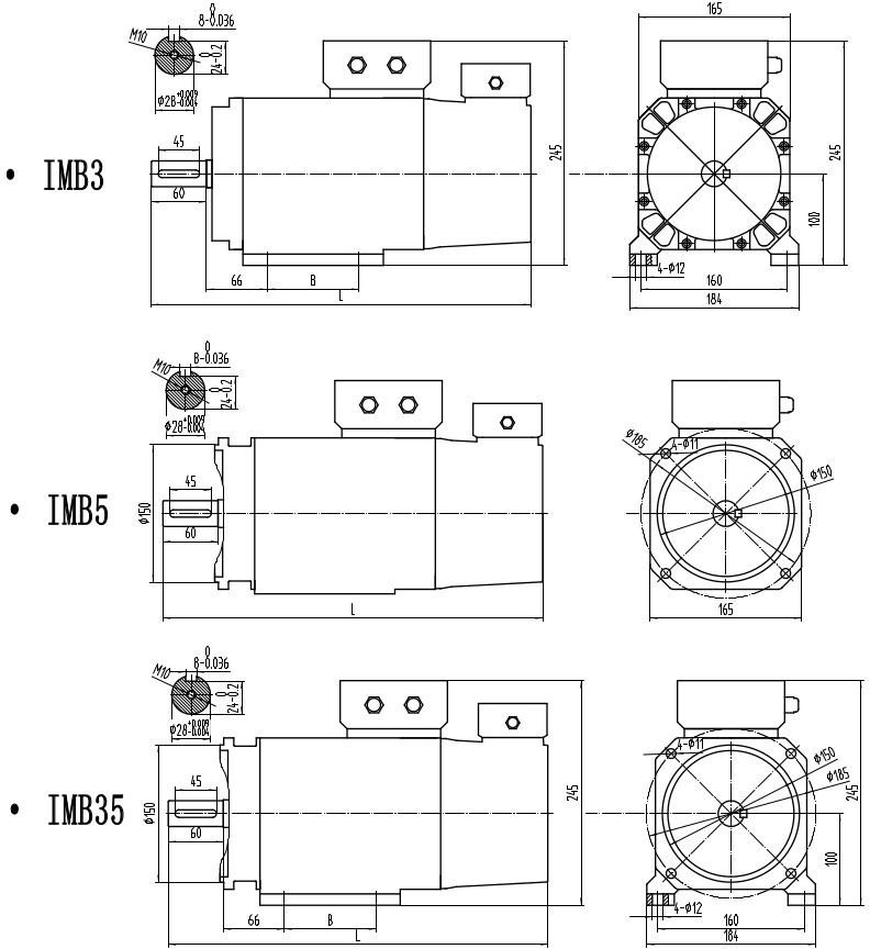 KZ-165主軸電機安裝尺寸